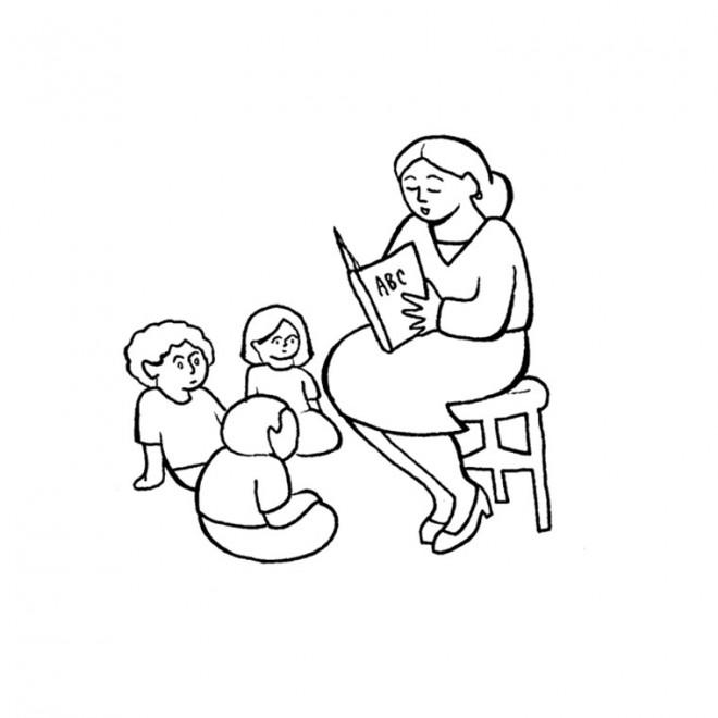 Coloriage et dessins gratuits La Mère lit Un Livre à Ses Enfants à imprimer