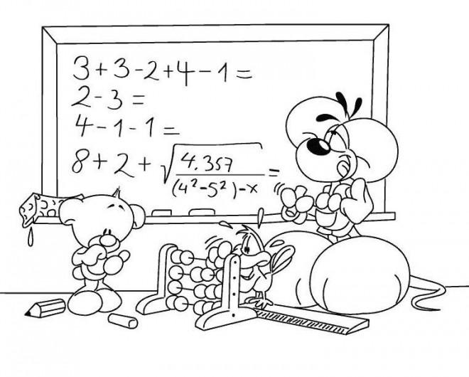 Coloriage et dessins gratuits La séance de Mathématique à L'École à imprimer