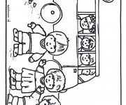 Coloriage Paysage enfants et le bus scolaire
