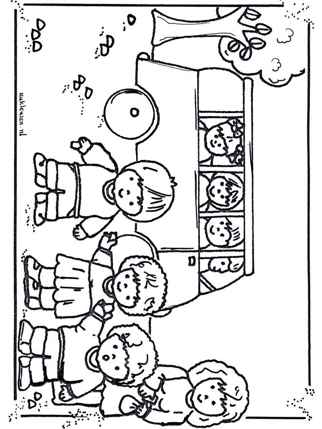 Coloriage et dessins gratuits Paysage enfants et le bus scolaire à imprimer
