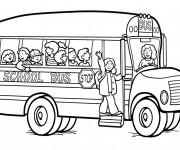 Coloriage et dessins gratuit Tous heureux dans Autobus scolaire à imprimer
