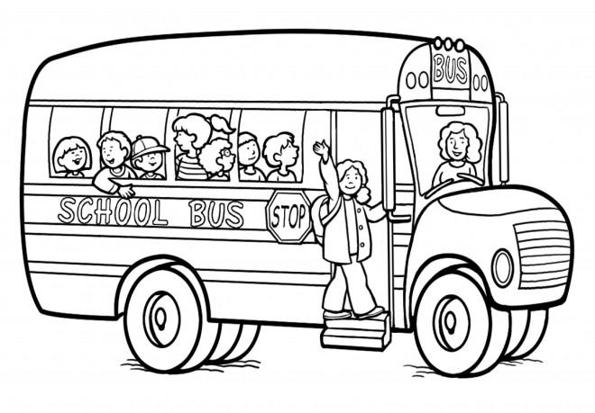 Coloriage et dessins gratuits Tous heureux dans Autobus scolaire à imprimer