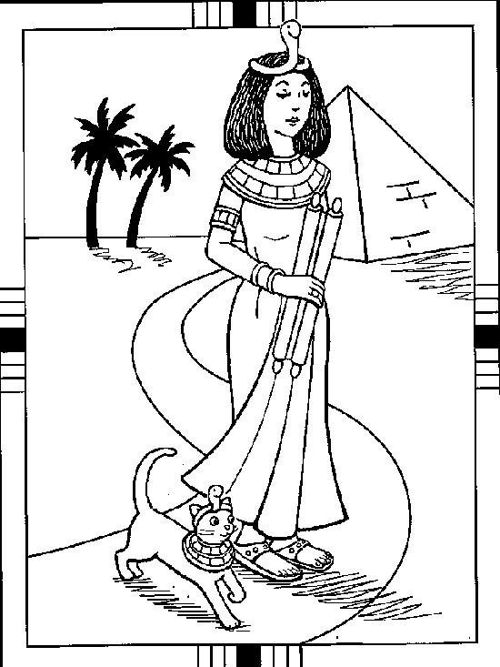 Coloriage et dessins gratuits Beau Paysage de Femme égyptienne à imprimer
