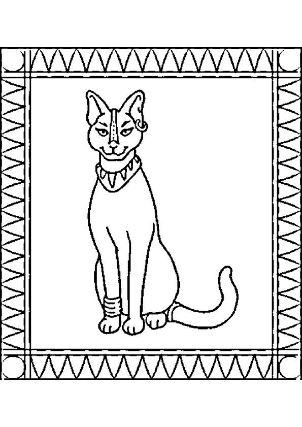 Coloriage et dessins gratuits Egypte Chat sacré à imprimer