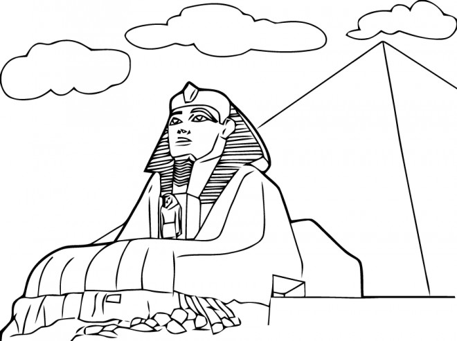 Coloriage A Imprimer Egypte Antique.Coloriage Egypte Le Sphinx De Gizeh Dessin Gratuit A Imprimer