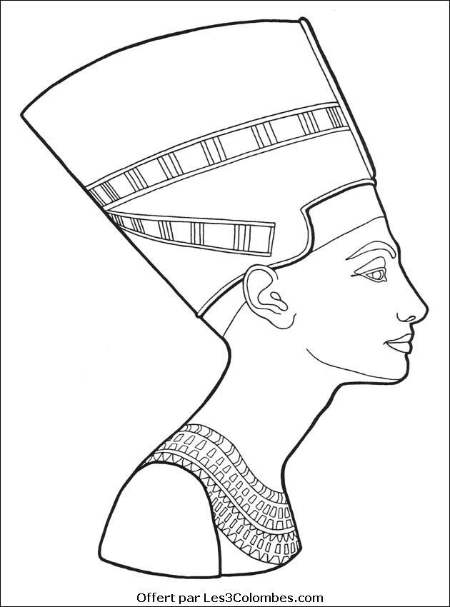 Coloriage et dessins gratuits Egypte Nefertiti à imprimer