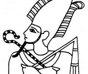Coloriage et dessins gratuit Egypte Pharaon à découper à imprimer