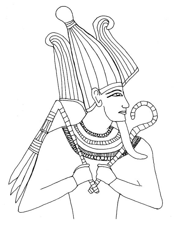 Coloriage et dessins gratuits Egypte Pharaon facile à imprimer