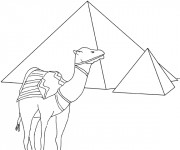 Coloriage Egypte Pyramide facile
