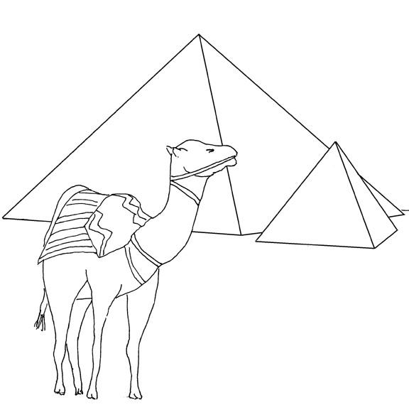 Coloriage et dessins gratuits Egypte Pyramide facile à imprimer
