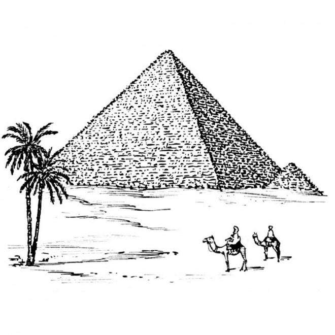 Coloriage et dessins gratuits Egypte Pyramide maternelle à imprimer