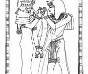 Coloriage et dessins gratuit Egyptien sur papyrus à imprimer