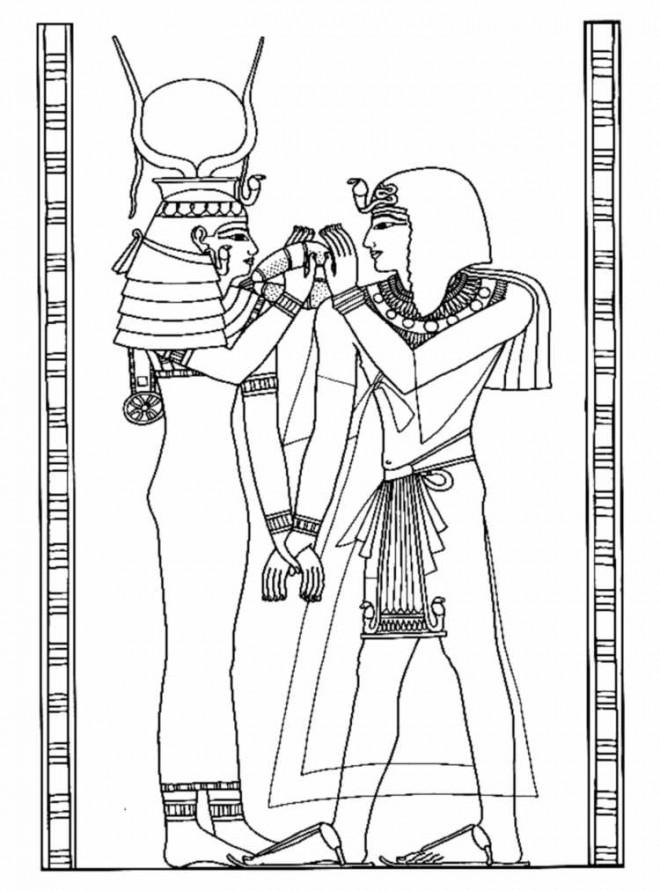 Coloriage et dessins gratuits Egyptien sur papyrus à imprimer