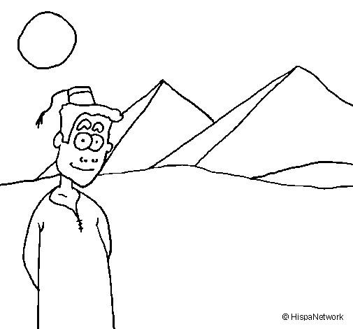 Coloriage et dessins gratuits Garçon égyptien devant Les Pyramides à imprimer