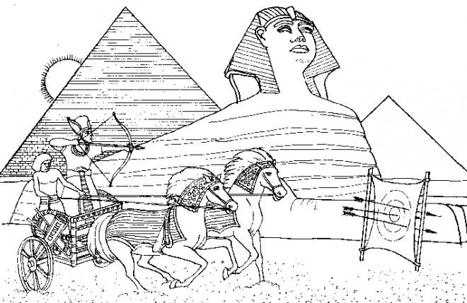Coloriage et dessins gratuits Paysage d Pharaon en Egypte ancienne à imprimer