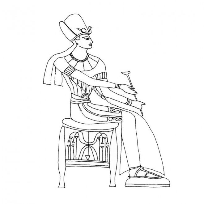 Coloriage et dessins gratuits Pharaon d'Egypte assis à imprimer