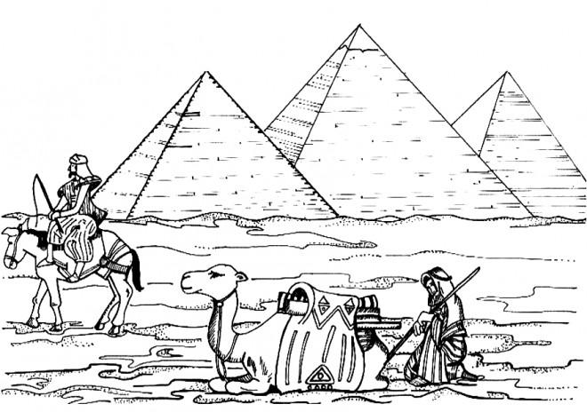 Coloriage et dessins gratuits Pyramides d'Egypte en perspective à imprimer