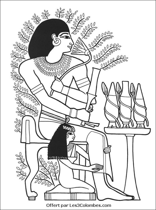Coloriage et dessins gratuits Scène en Egypte à télécharger à imprimer