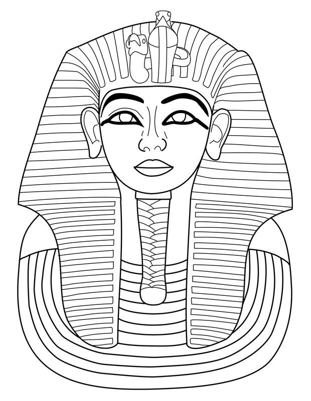 Coloriage Un Pharaon Sculpture dessin gratuit à imprimer