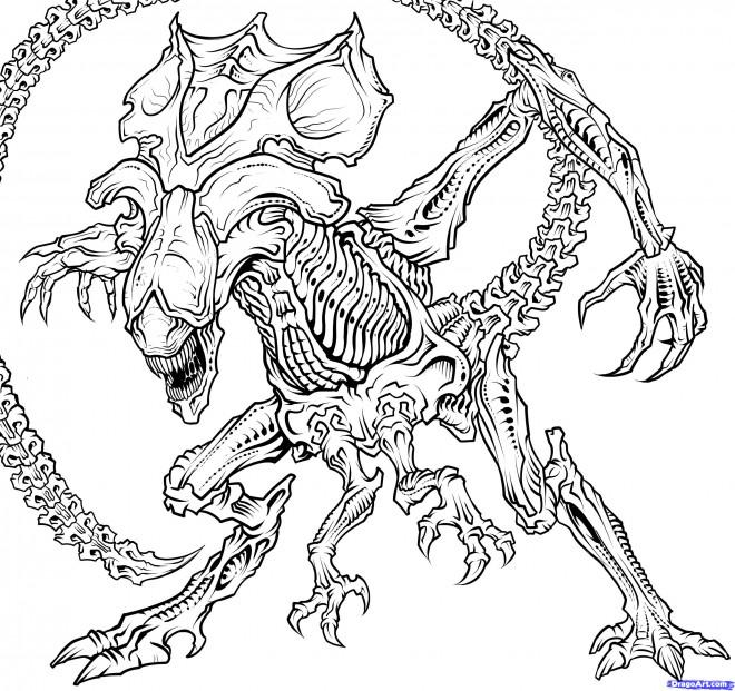 Coloriage et dessins gratuits Alien terrifiant à imprimer