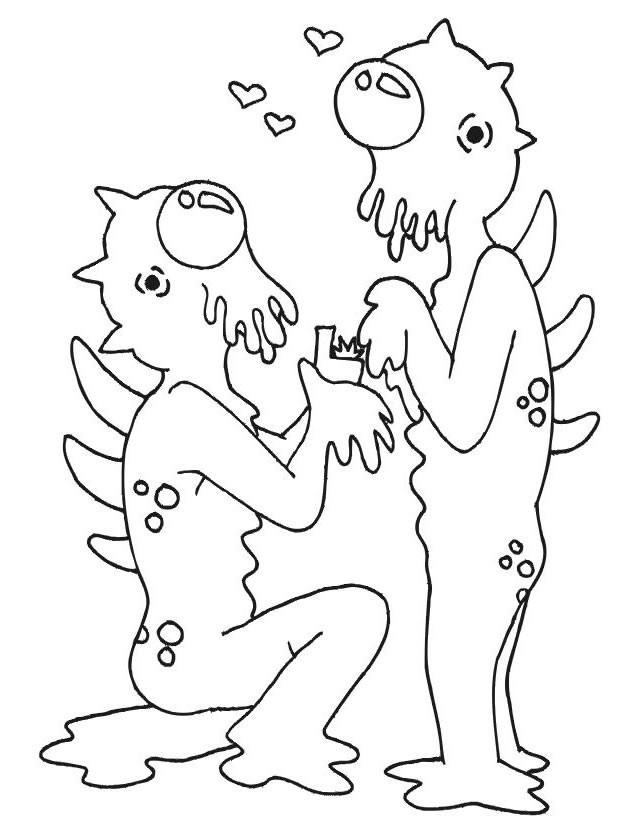 Coloriage et dessins gratuits Aliens Amoureux facile à imprimer