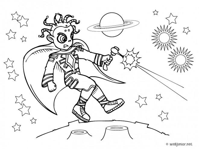 Coloriage et dessins gratuits Combat dans L'univers à imprimer