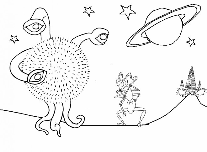 Coloriage et dessins gratuits Extraterrestre à compléter à imprimer