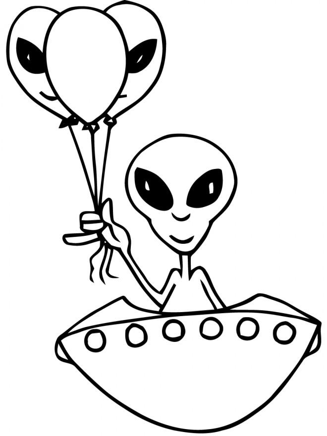 Coloriage et dessins gratuits Extraterrestre apporte des cadeaux Ballons à imprimer