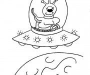 Coloriage et dessins gratuit Extraterrestre dans son Vaisseau spatial à imprimer