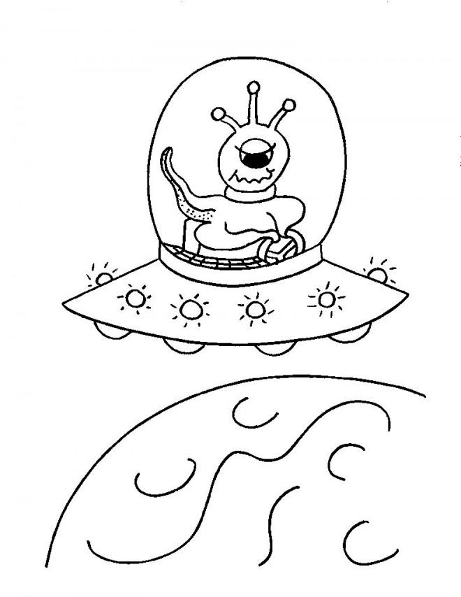 Coloriage et dessins gratuits Extraterrestre dans son Vaisseau spatial à imprimer