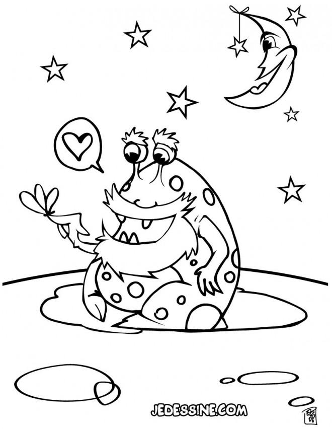 Coloriage Extraterrestre en amour dessin gratuit à imprimer