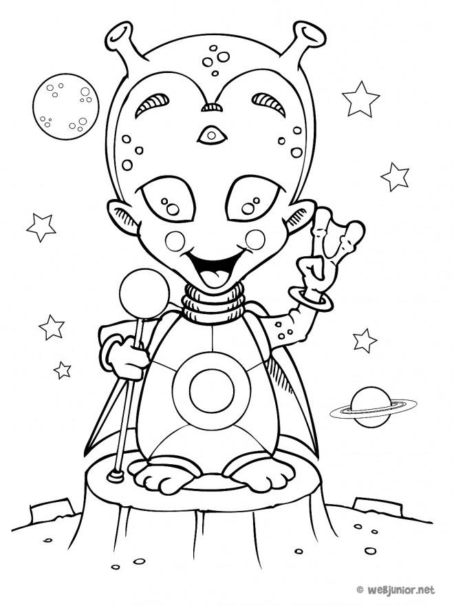 Coloriage et dessins gratuits Extraterrestre en bon humeur à imprimer