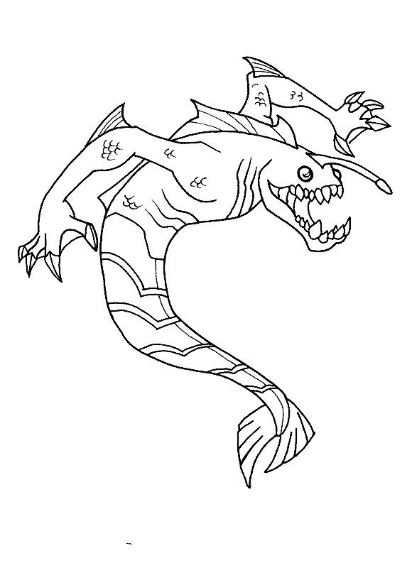 Coloriage et dessins gratuits Extraterrestre en forme de Poisson à imprimer