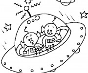 Coloriage Extraterrestre et Soucoupe Volante