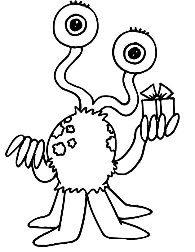 Coloriage et dessins gratuits Extraterrestre offre un Cadeau à imprimer