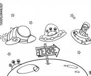 Coloriage et dessins gratuit Les Extraterrestres arrivent sur terre à imprimer