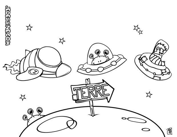 Coloriage et dessins gratuits Les Extraterrestres arrivent sur terre à imprimer