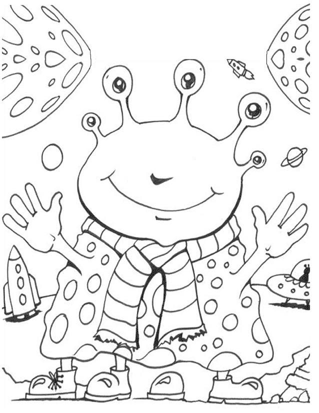 Coloriage et dessins gratuits Portrait Extraterrestre content à imprimer