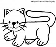 Coloriage et dessins gratuit Chat Facile à découper à imprimer