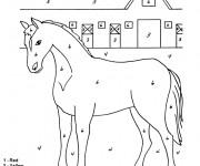 Coloriage Cheval numéroté Facile