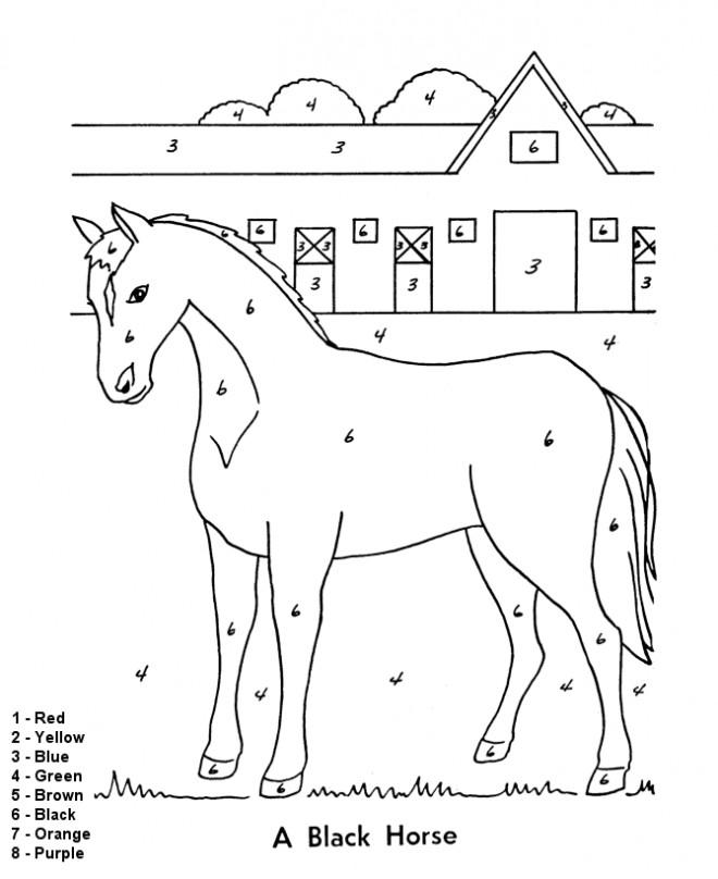 Coloriage Cheval Numerote Facile Dessin Gratuit A Imprimer