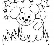 Coloriage et dessins gratuit Chien sous les Étoiles à imprimer