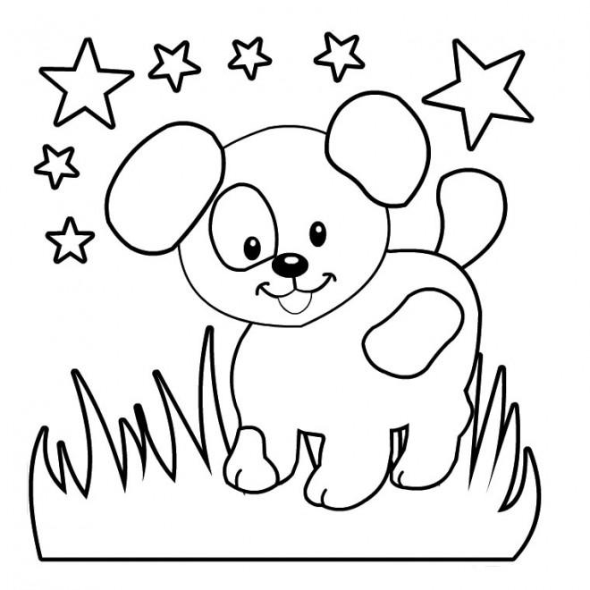 Coloriage et dessins gratuits Chien sous les Étoiles à imprimer