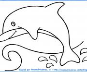 Coloriage et dessins gratuit Dauphins qui saute Facile à imprimer