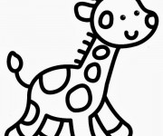 Coloriage Facile Giraffe