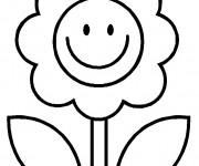 Coloriage Fleur souriante Facile