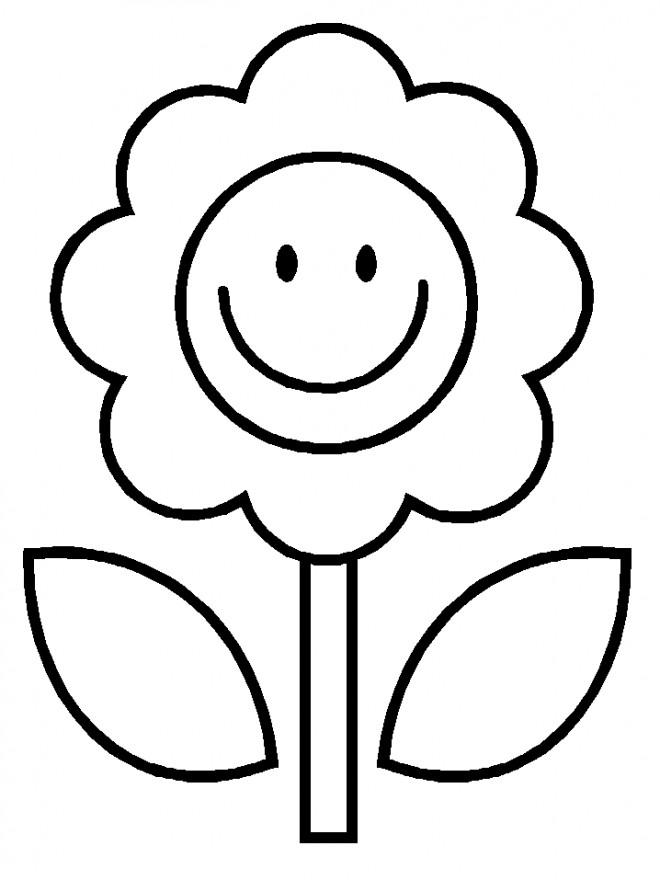 Coloriage et dessins gratuits Fleur souriante Facile à imprimer
