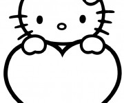 Coloriage Hello Kitty Facile en couleur