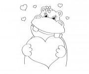 Coloriage Hippopotame en amour