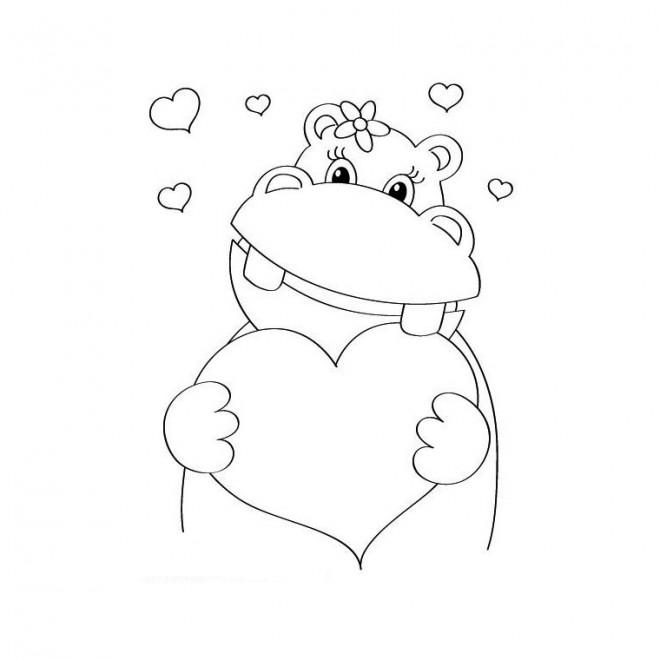 Coloriage et dessins gratuits Hippopotame en amour à imprimer